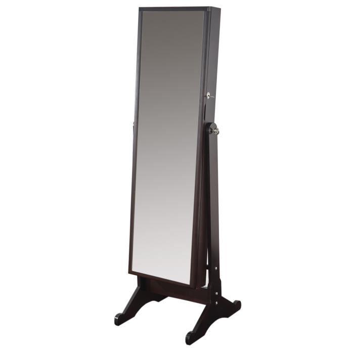 armoire bijoux marron avec miroir placard achat vente commode semainier armoire bijoux. Black Bedroom Furniture Sets. Home Design Ideas