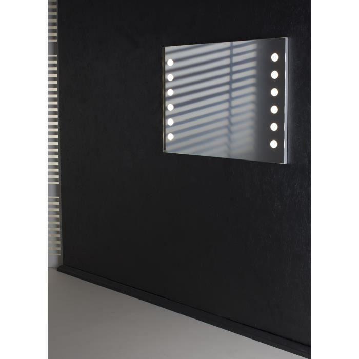 miroir mural avec 12 points lumineux led achat vente miroir salle de bain les soldes. Black Bedroom Furniture Sets. Home Design Ideas
