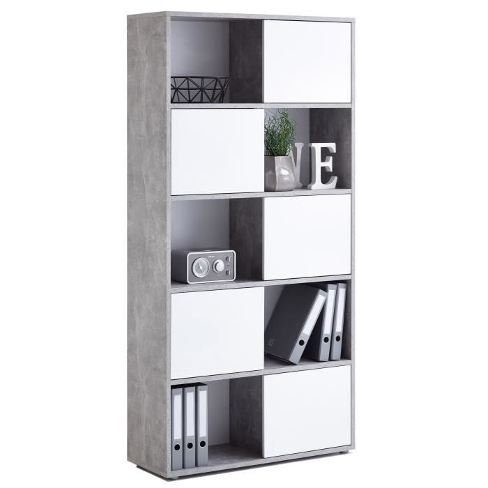 futura biblioth que style contemporain m lamin e d cor gris effet b ton et blanc brillant l 90. Black Bedroom Furniture Sets. Home Design Ideas