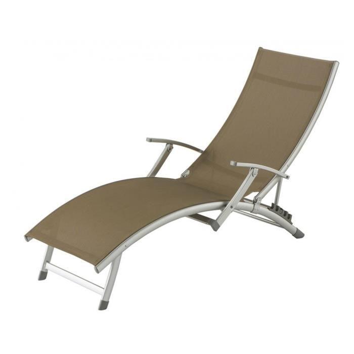 Transat pliant ibiza taupe achat vente chaise longue - Transat pliant jardin ...