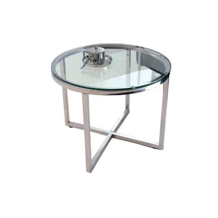 Talulah table basse ronde en verre et pi tement achat for Pietement table ronde