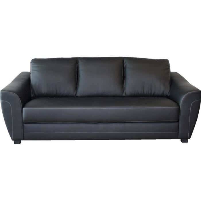 canap fixe 3 places switsofa indiana pu noir achat vente canap sofa. Black Bedroom Furniture Sets. Home Design Ideas