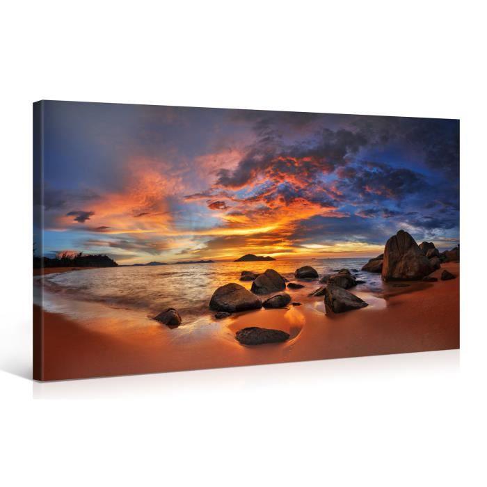 Tableau sur toile island sunset 100x50cm achat vente for Tableau impression sur toile