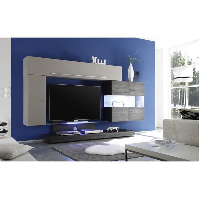 Ensemble meuble tv taupe laqu et weng avec clairage led - Meuble tv wenge et verre ...
