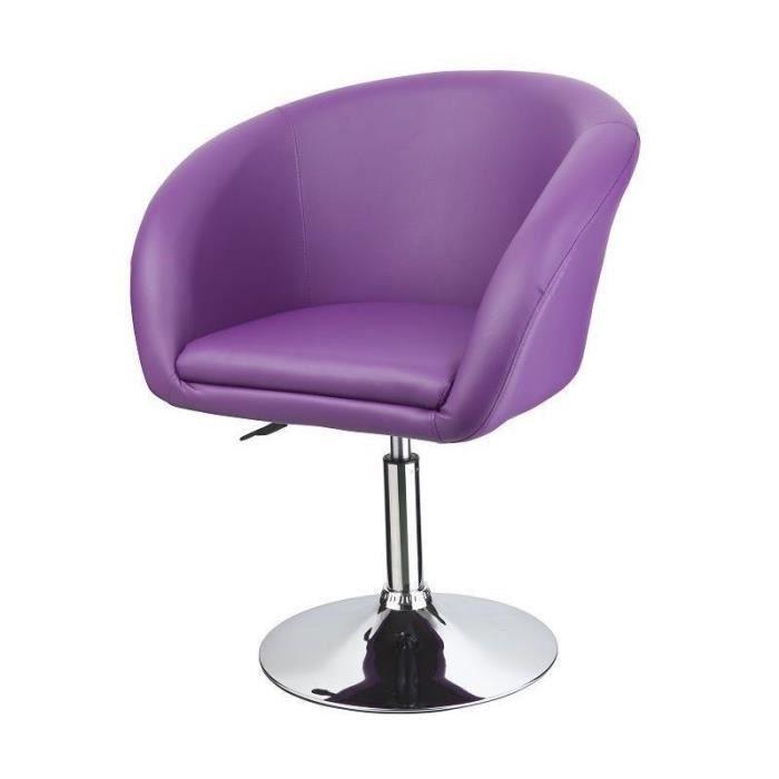 Fauteuil lounge pivotant cuir violet 1109026 achat vente fauteuil cuir a - Fauteuil cabriolet violet ...