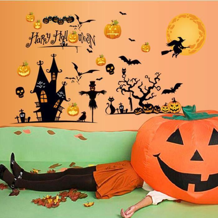 Bro stickers muraux salon d coration halloween araign e citrouille et chauve souris achat - Decoration salon halloween ...