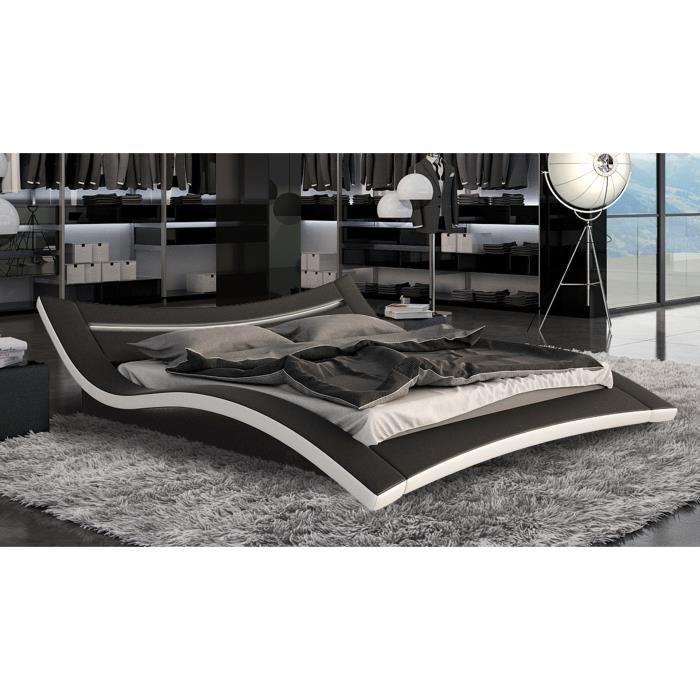 Lit design en cuir squary lit vendu avec sommier et for Lit design complet