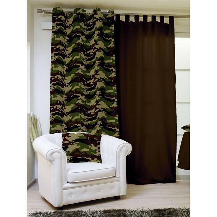 rideau a oeillets 140 240 cm camouflage kaki achat vente rideau voilage cdiscount. Black Bedroom Furniture Sets. Home Design Ideas