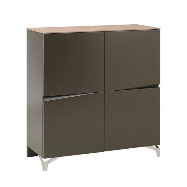 commode lin a 4 portes marron en frene achat vente. Black Bedroom Furniture Sets. Home Design Ideas