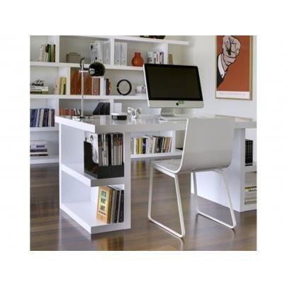 Bureau avec tag res denzel laqu blanc achat vente for Bureau blanc avec etagere