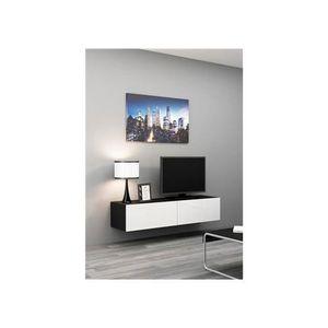 Meuble tv suspendue blanc laque achat vente meuble tv for Meuble tv suspendu 120 cm