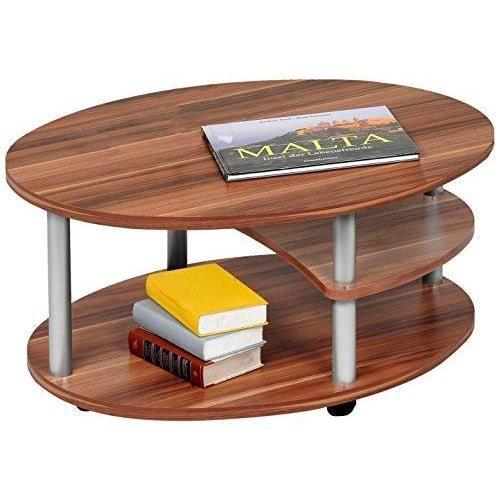 Alfa tische m838 primo table basse ovale en noyer avec - Table basse avec roulettes ...