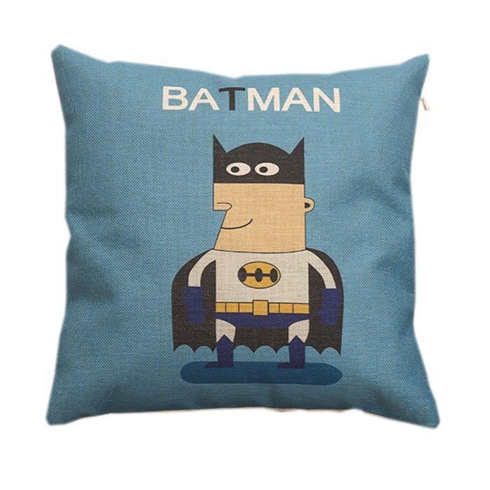 go4u taie d 39 oreille housse coussin canap lit maison d cor batman motif 45 45cm lin et coton. Black Bedroom Furniture Sets. Home Design Ideas