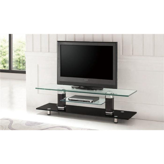 Meuble tv design verre noir cristal achat vente meuble for Meuble tv en verre design