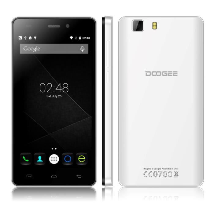 t l phone portable smartphone doogee android 5 pouce blanc. Black Bedroom Furniture Sets. Home Design Ideas