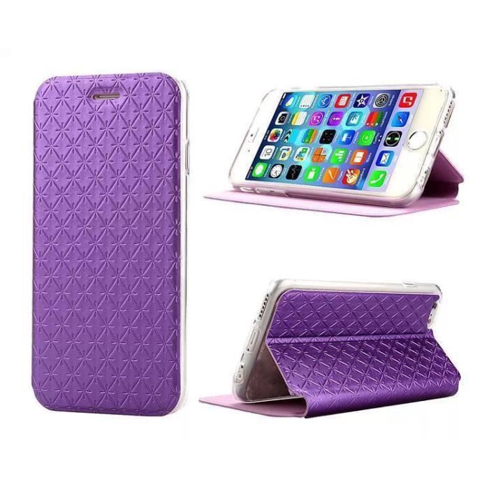 Coque iphone 6 4 7 housse cuir violet diamant achat for Housse iphone 7 cuir