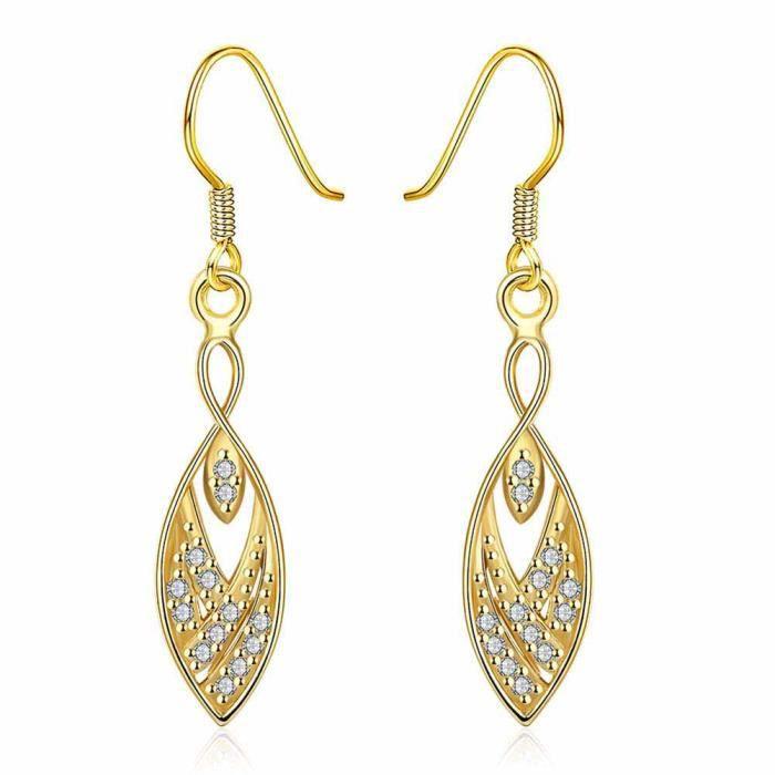 boucles d 39 oreilles pendante oxyde de zirconium jaune paola cadeau femme pas cher achat. Black Bedroom Furniture Sets. Home Design Ideas