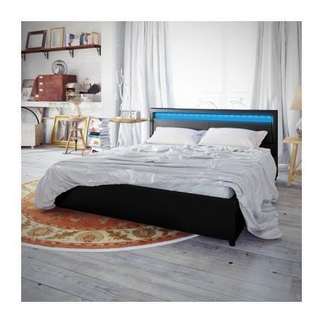 lit en pu avec t te de lit led 200 180 cm noir stylashop. Black Bedroom Furniture Sets. Home Design Ideas