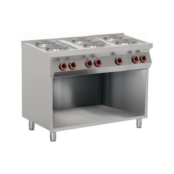 Fourneau lectrique professionnel sur meuble 100 acier - Table de cuisson professionnelle ...