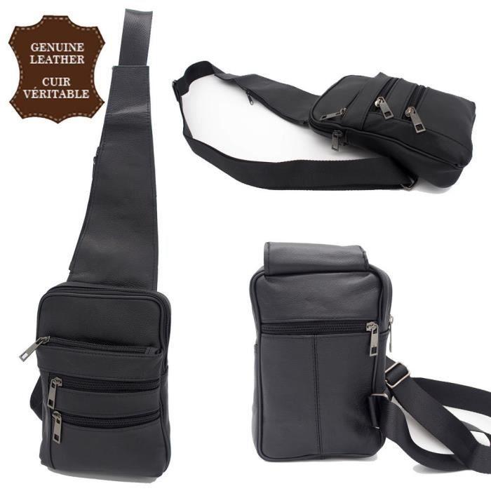 sac sacoche bandouli re cuir de vachette v ritable sac de poitrine homme noir noir achat. Black Bedroom Furniture Sets. Home Design Ideas