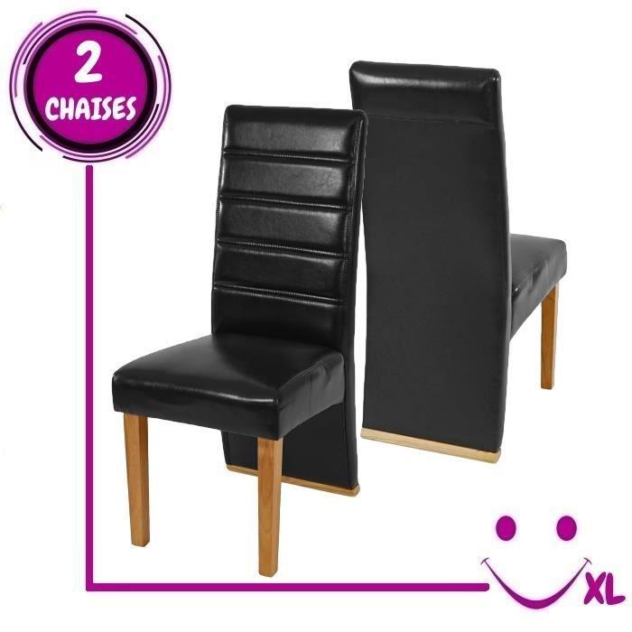 2 chaises de salle manger krems imitation cuir noir for Chaise de salle a manger en cuir noir