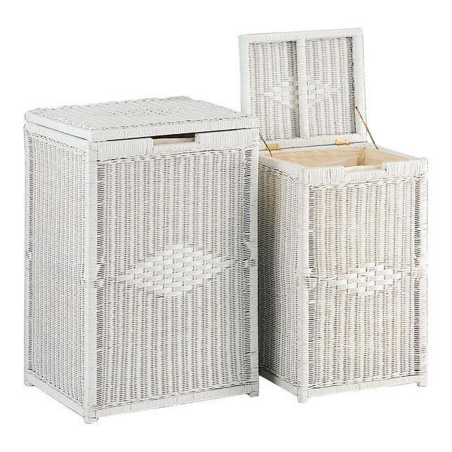 2 coffres linge osier laqu blanc kli182sc achat vente casier pour meub - Meuble en rotin blanc ...