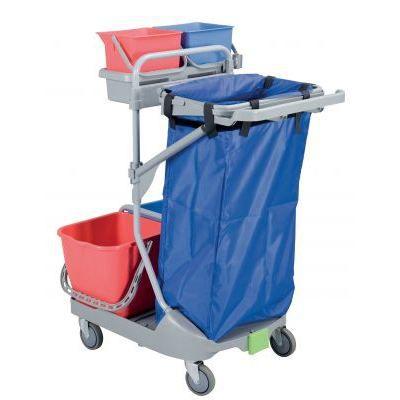 Chariot de m nage 4 bacs support poubelle achat vente chariot d 39 entretien chariot de for Chariot de menage