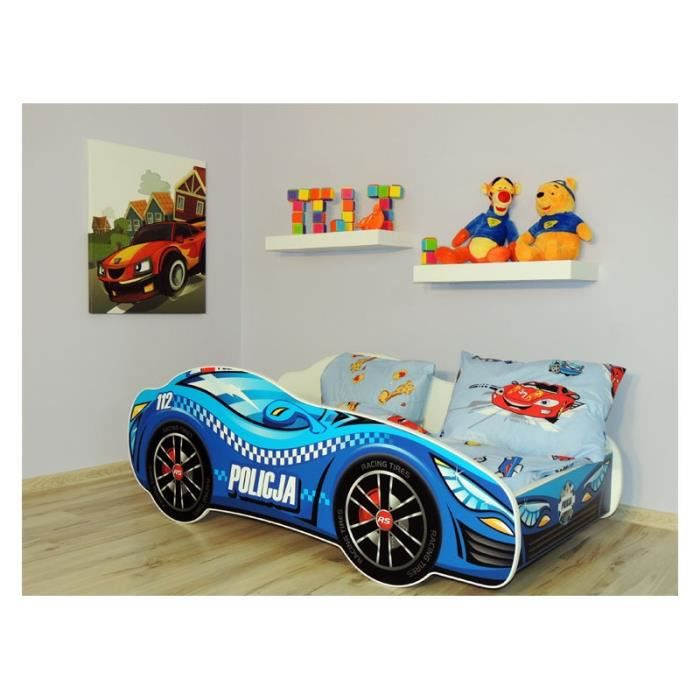 Lit auto policier enfant sommier matelas 140x70 cm achat vente lit complet lit auto policier - Sommier extensible 70 a 140 ...