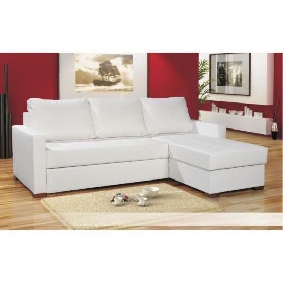 canap d 39 angle avec tetieres chlara blanc r versible composition polyur thane achat. Black Bedroom Furniture Sets. Home Design Ideas