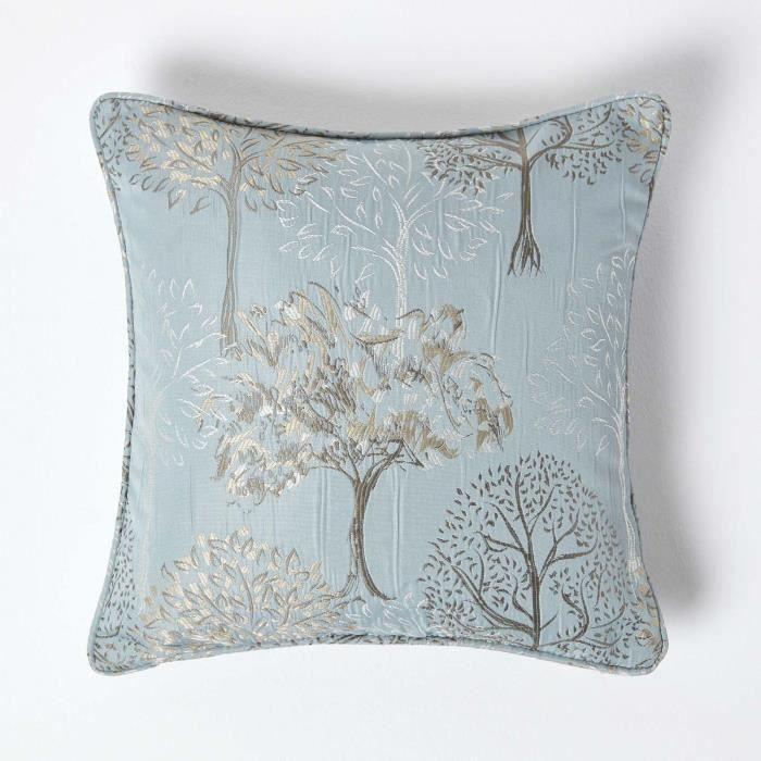 Coussin d houssable bleu givr motif arbre 45 x 45 cm - Housse de coussin 45 x 45 ...