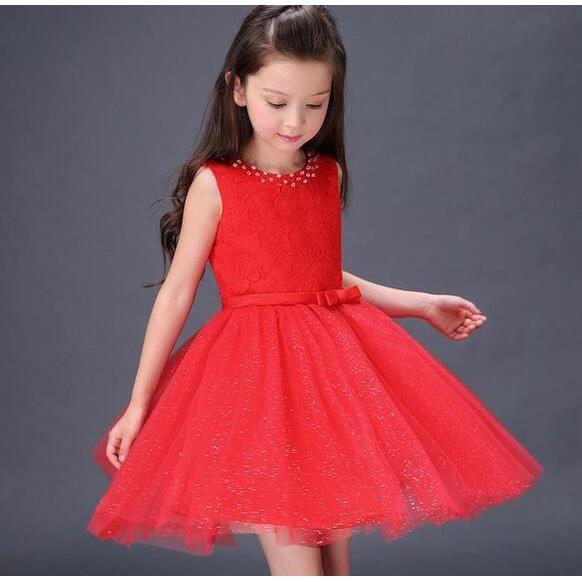 enfant fille robe f te mousseline c r monie fleurs bowknot princesse robe rouge rouge tu achat. Black Bedroom Furniture Sets. Home Design Ideas