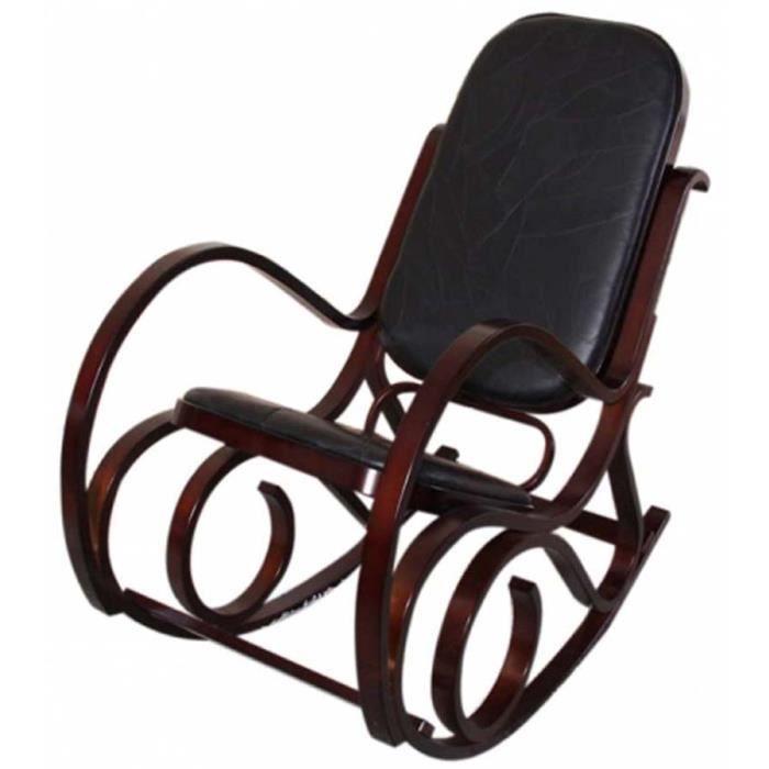 rocking chair m41 en bois coussins et en cuir noir achat vente fauteuil noir cdiscount. Black Bedroom Furniture Sets. Home Design Ideas