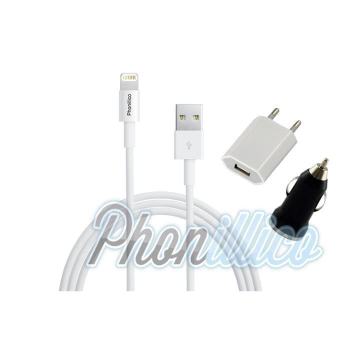pack chargeur 3en1 noir apple iphone se phonillico achat chargeur t l phone pas cher avis et. Black Bedroom Furniture Sets. Home Design Ideas