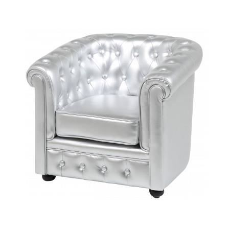 Fauteuil chesterfield argent luxe achat vente fauteuil cdiscount - Fauteuil chesterfield argent ...