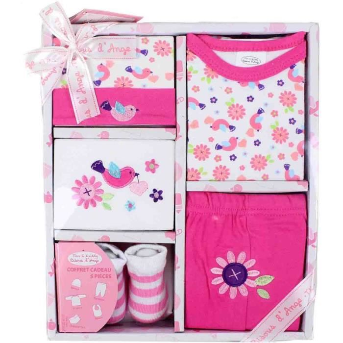 coffret naissance 5 pi ces b b fille rose rose achat vente coffret cadeau textile. Black Bedroom Furniture Sets. Home Design Ideas
