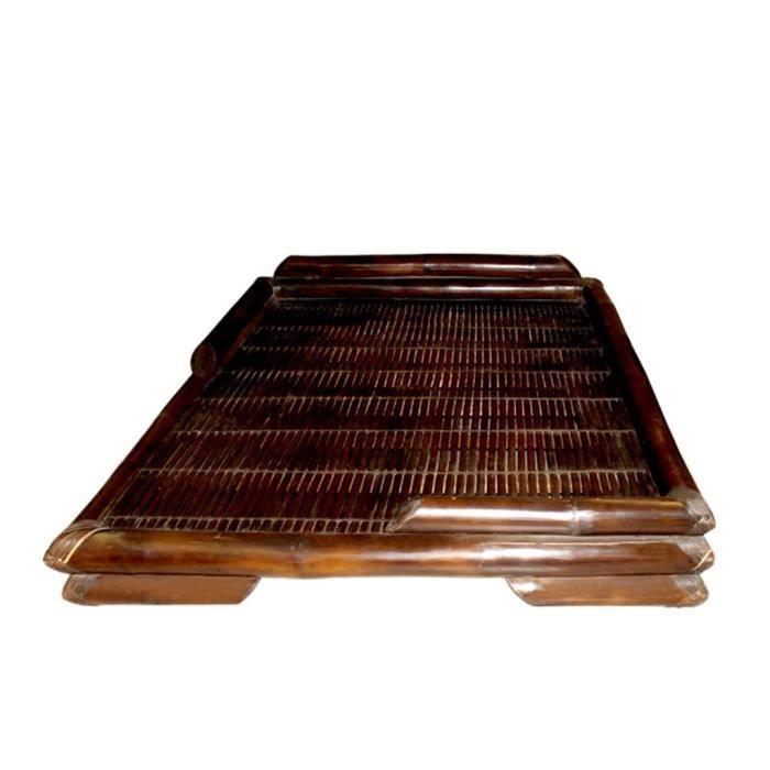 lit japonais en bambou marron 140 x190 cm achat vente structure de lit cdiscount. Black Bedroom Furniture Sets. Home Design Ideas