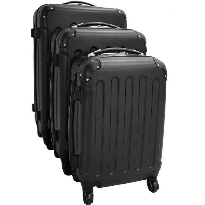 set de 3 valises trolley noires valises rigides noir achat vente set de valises. Black Bedroom Furniture Sets. Home Design Ideas