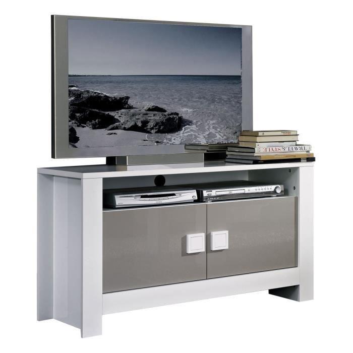 Meuble tv design coloris blanc et gris laqu achat for Meuble tv blanc et gris