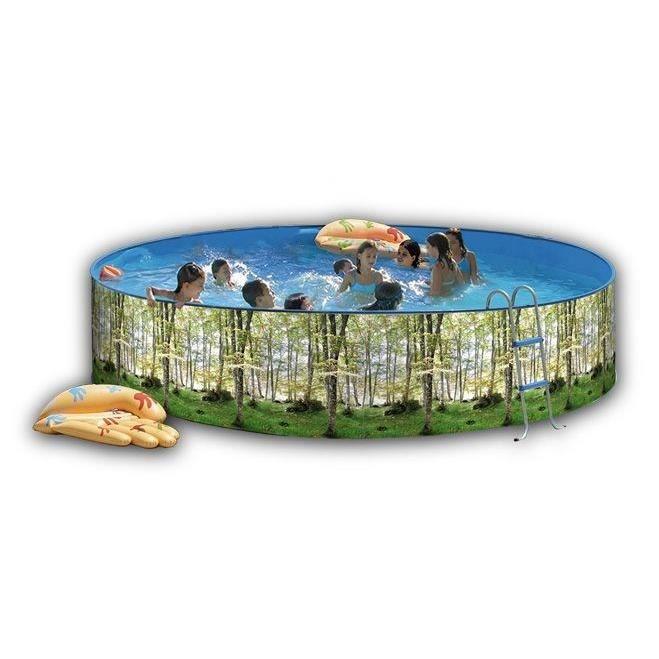Piscine acier for t ronde 450x90 cm achat vente for Achat piscine acier