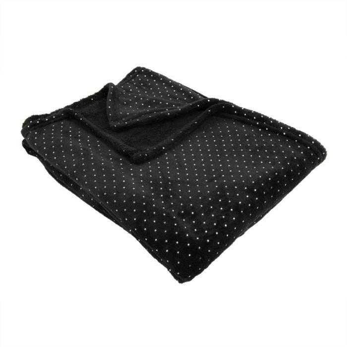 plaid polaire fleece noir couleur principale noir achat vente couverture plaid cdiscount. Black Bedroom Furniture Sets. Home Design Ideas