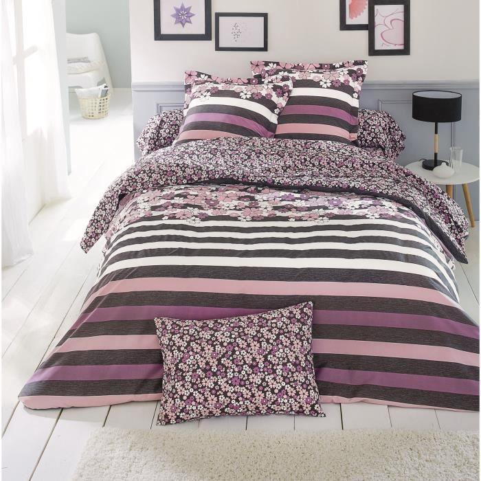 housse de couette lisa rose x cm achat vente housse de with housse de couette grise et rose. Black Bedroom Furniture Sets. Home Design Ideas