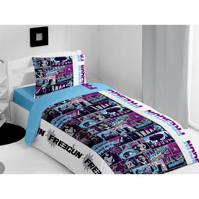 parure housse de couette freegun comix bleu achat. Black Bedroom Furniture Sets. Home Design Ideas
