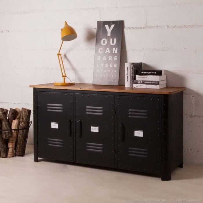 buffet bas 3 portes en m tal noir et plateau bois l150cm. Black Bedroom Furniture Sets. Home Design Ideas