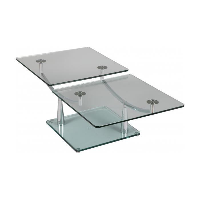 Table basse rectangulaire en verre 2 plateaux achat - Table basse en verre 2 plateaux ...