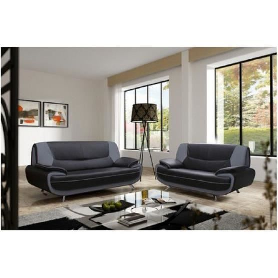 Canap design 3 2 bregga 2 noir gris achat vente canap sofa divan pu - Canape design discount ...