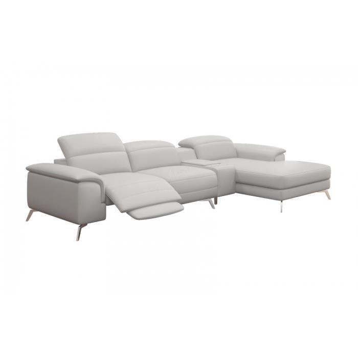 Canap d 39 angle en cuir italien 5 places relaxia achat vente canap sofa divan canap d Canape d angle italien
