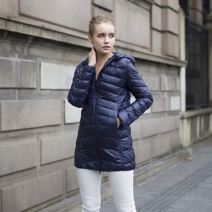 doudoune l ger v tement chaud manteau d 39 hiver amincissant mode femme veste bleu fonce achat. Black Bedroom Furniture Sets. Home Design Ideas