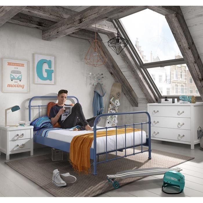 new york lit enfant sommier en m tal 120 x 200 cm bleu laqu achat vente structure de. Black Bedroom Furniture Sets. Home Design Ideas