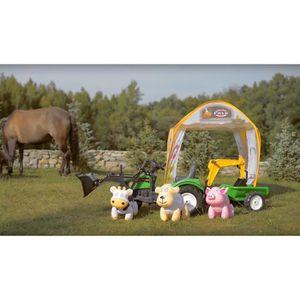 FALK Pack complet Tracteuur tente et animauxTractopelle Ranch Trac Avec Selle Tournante Et Excavatrice + Remorque + Tente Et Animaux