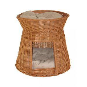 panier maison osier wicker avec lit au dessus noir avec avec 2 coussins clairs jeu pour chat. Black Bedroom Furniture Sets. Home Design Ideas